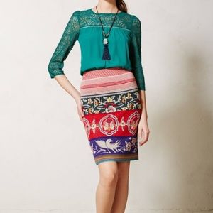 Moth Chava knit wool blend pencil skirt M